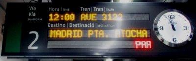AVE Barcelona Sants hacia Madrid Atocha