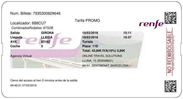 Billete AVE Girona  Lleida 19/03/2016