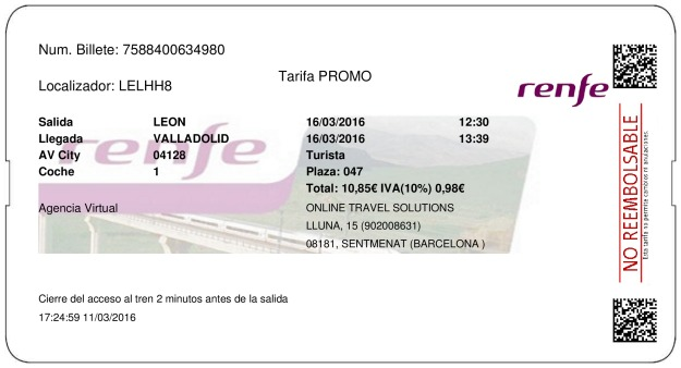 Ticket AVE Lion to Valladolid 16/03/2016