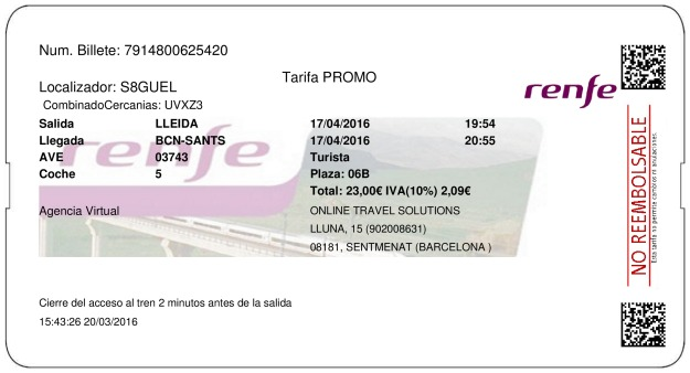 Billete AVE Lleida  Barcelona 17/04/2016