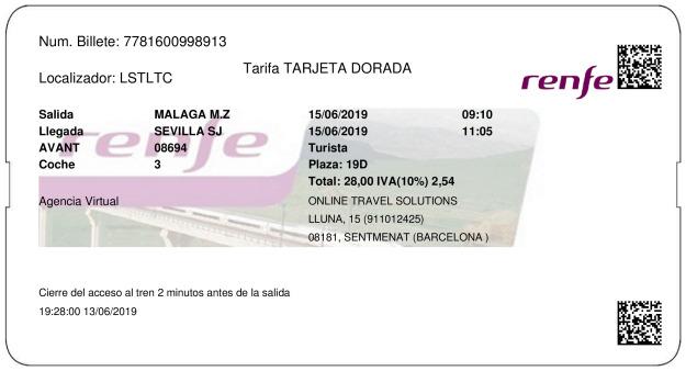 Billete AVE Málaga  Sevilla 15/06/2019