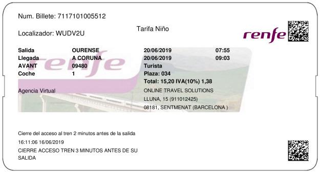Billete AVE Ourense  La Coruña 20/06/2019