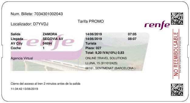 Billete AVE Zamora  Segovia 14/06/2019