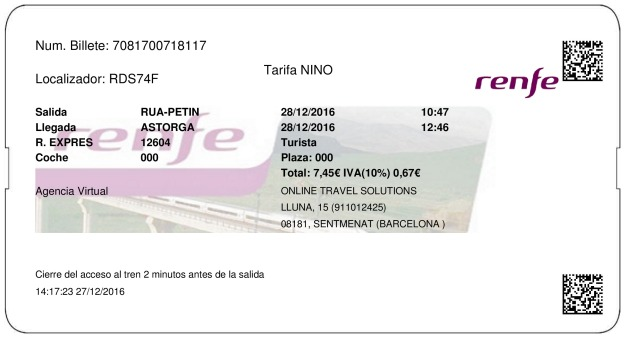 Billete Tren A Rua  Astorga 28/12/2016