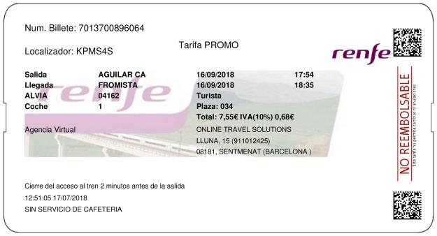 Billete Tren Aguilar De Campoo  Frómista 16/09/2018