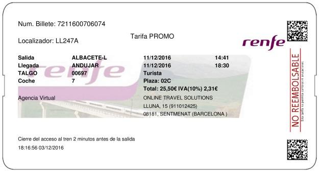 Billete Tren Albacete  Andújar 11/12/2016