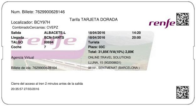 Billete Tren Albacete  Barcelona 18/04/2016