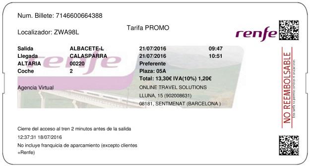 Billete Tren Albacete  Calasparra 21/07/2016