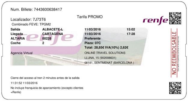 Billete Tren Albacete  Cartagena 11/03/2016