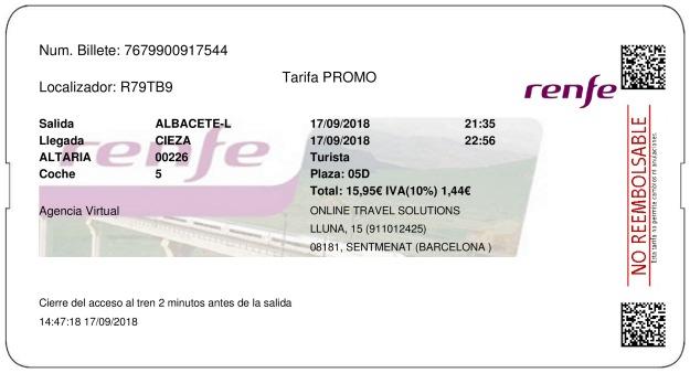 Billete Tren Albacete  Cieza 17/09/2018