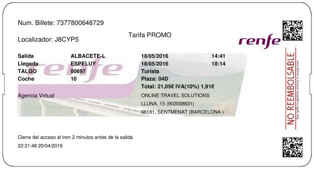 Billete Tren Albacete  Espelúy 18/05/2016