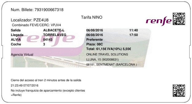 Billete Tren Albacete  Torrelavega 06/08/2016