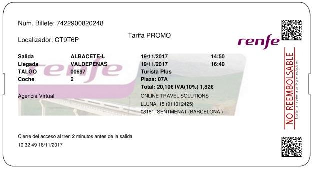 Billete Tren Albacete  Valdepeñas 19/11/2017