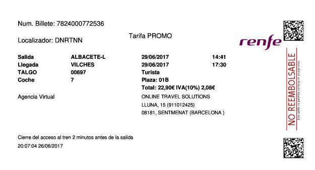 Billete Tren Albacete  Vilches 29/06/2017