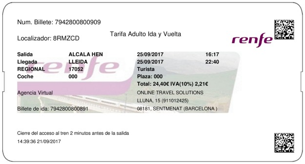 Billete Tren Alcalá De Henares  Lleida 25/09/2017