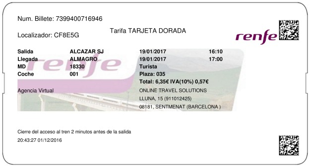 Billete Tren Alcazar de San Juan  Almagro 19/01/2017