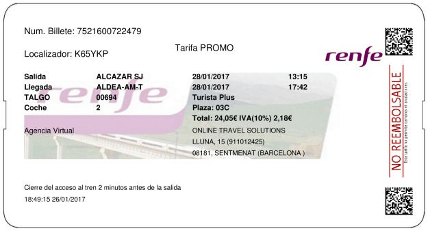 Billete Tren Alcazar de San Juan  L'Aldea 28/01/2017