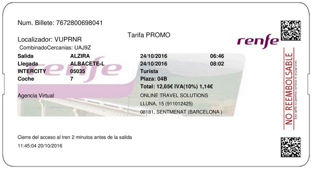 Billete Tren Alcira  Albacete 24/10/2016