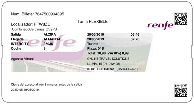 Billete Tren Alcira  Almansa 20/05/2019
