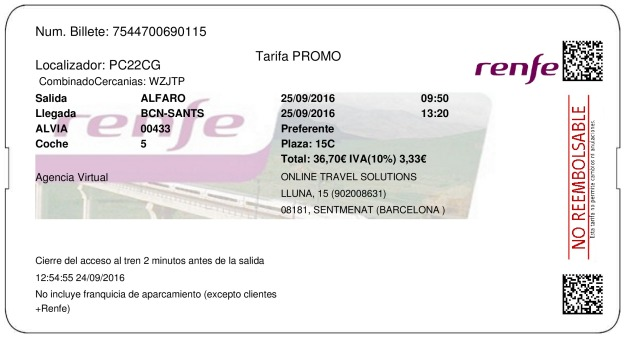 Billete Tren Alfaro  Barcelone 25/09/2016