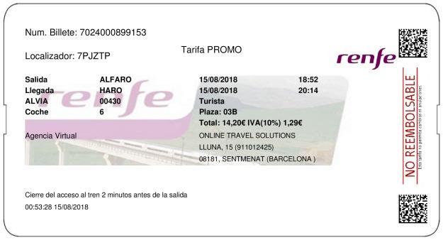 Billete Tren Alfaro  Haro 15/08/2018