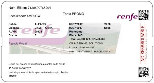 Billete Tren Alfaro  Tarragone 09/07/2017