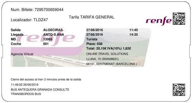 Billete Tren Algeciras  Antequera 27/06/2016