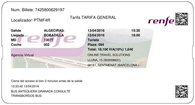 Billete Tren Algeciras  Bobadilla 13/04/2016