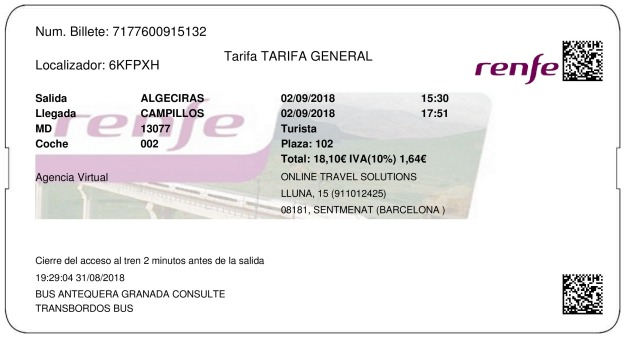 Billete Tren Algeciras  Campillos 02/09/2018
