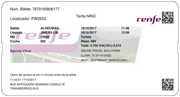 Billete Tren Algeciras  Jimera de Líbar 19/10/2017