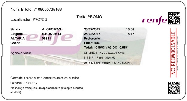 Billete Tren Algeciras  San Roque 25/02/2017