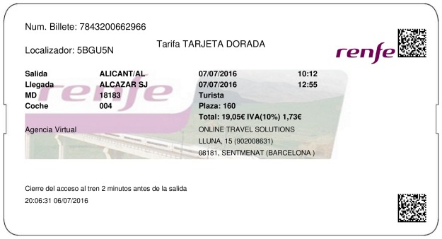 Billete Tren Alicante  Alcazar de San Juan 07/07/2016