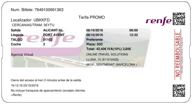 Billete Tren Alicante  Port Aventura 06/10/2016