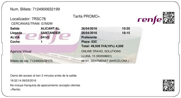 Billete Tren Alicante  Santander 26/04/2016