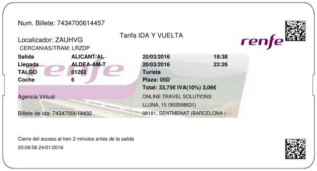 Billete Tren Alicante  Tortosa 20/03/2016