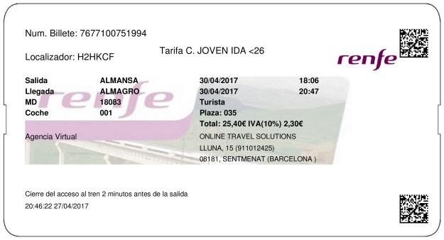 Billete Tren Almansa  Almagro 30/04/2017