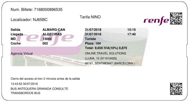 Billete Tren Almargen  Algeciras 31/07/2018