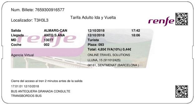 Billete Tren Almargen  Antequera 12/10/2018