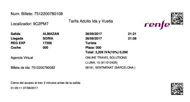 Billete Tren Almazán  Soria 26/09/2017