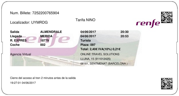 Billete Tren Almendralejo  Mérida 04/06/2017