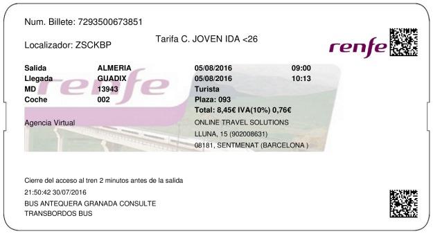 Billete Tren Almería  Guadix 05/08/2016