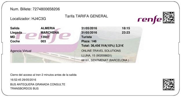 Billete Tren Almeria  Marchena 31/05/2016