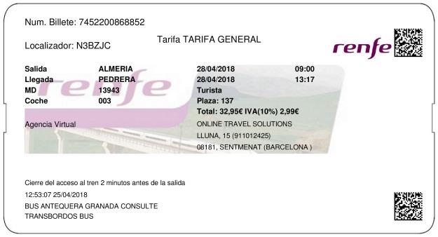 Billete Tren Almeria  Pedrera 28/04/2018