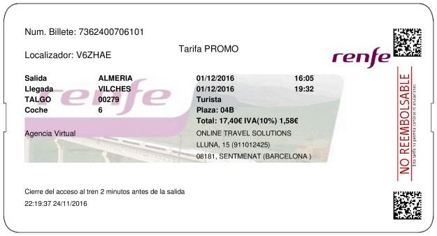 Billete Tren Almería  Vilches 01/12/2016