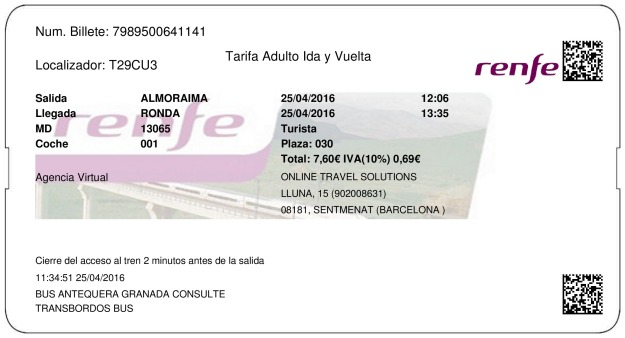 Billete Tren Almoraima  Ronda 25/04/2016