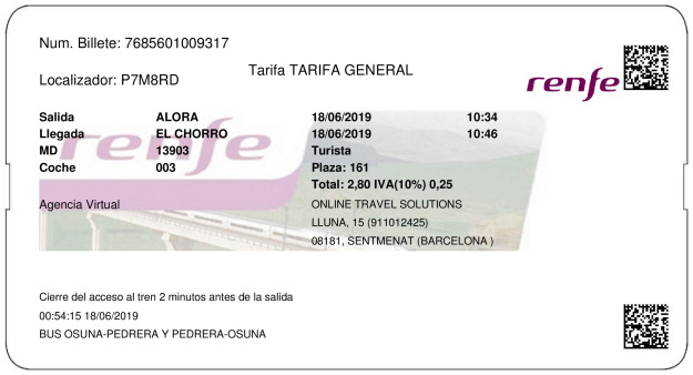 Billete Tren Álora  El Chorro 18/06/2019