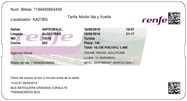 Billete Tren Antequera  Algeciras 16/09/2016