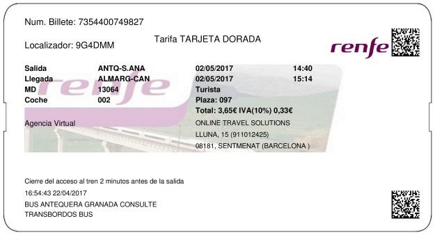 Billete Tren Antequera  Almargen 02/05/2017
