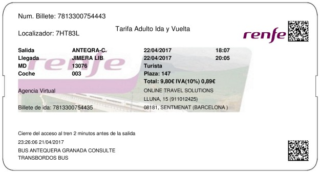 Billete Tren Antequera  Jimera de Líbar 22/04/2017