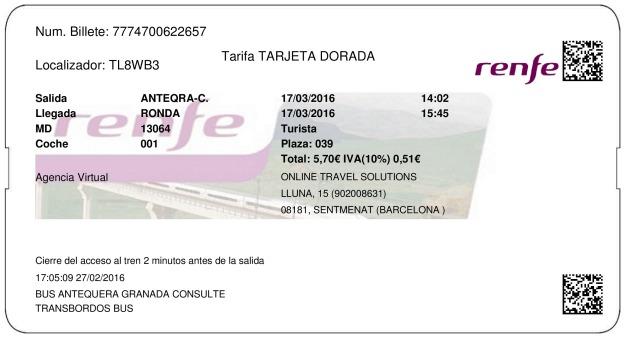 Billete Tren Antequera  Ronda 17/03/2016